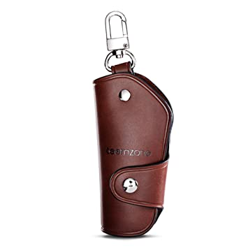 Teemzone Unisex Real Leather Key Bag Key Chain Case Car Key Holder (Brown)