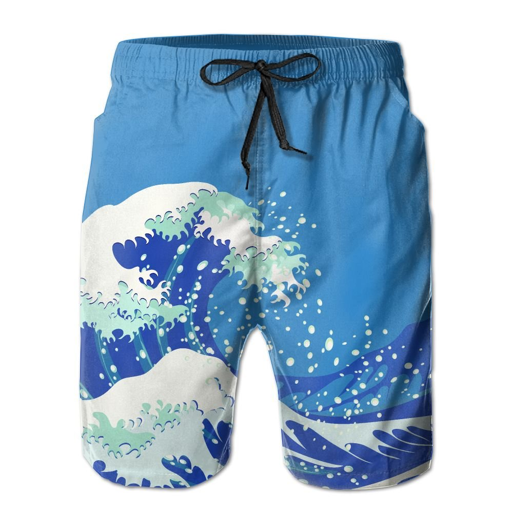 ZAPAGE Mans Quick Dry Board Shorts Sea Wave Swimwear Board Shorts With Pockets