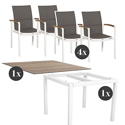 Juego de muebles de jardín - 4 x sillas plegables con estrella ...