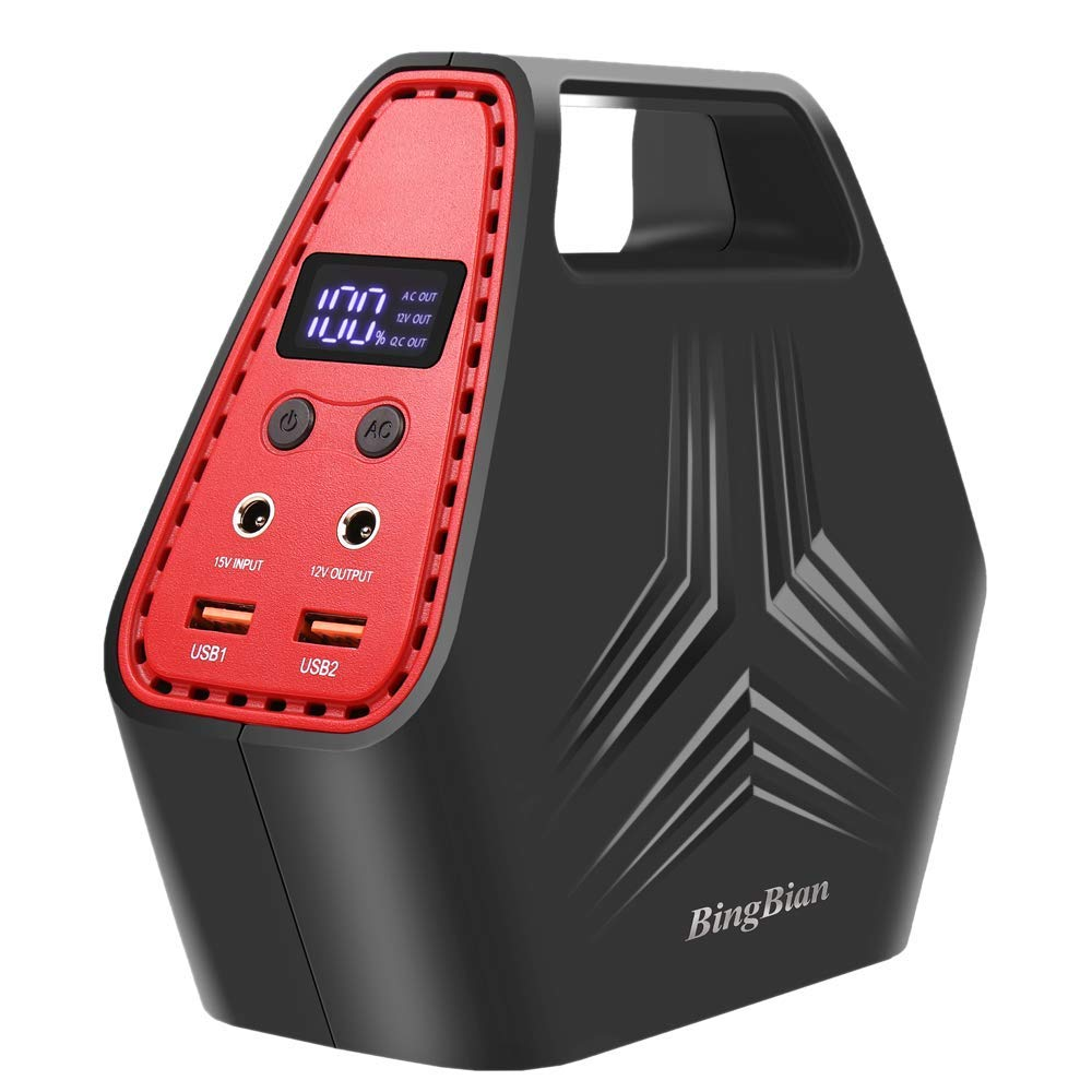 BingBian Portable Generator Power Inverter,CPAP Battery Pack 150Wh Emergency Power Station for Camping Home with 110V AC Outlet, QC3.0 USB Ports & DC Ports Recharged by Wall Outlet or Solar Panel