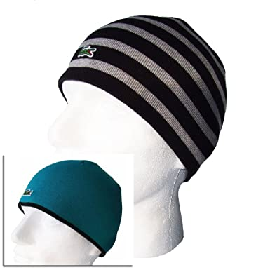 36751af6fd0 Lacoste Beanie Hat - RB6361 Black Grey Stripe Reversible  Amazon.co.uk   Clothing
