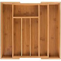 Bambus Besteckkasten ausziehbar für Schubladen mit 7 Fächern Schubladeneinsatz als Küchenorganizer Besteckeinsatz verstellbar
