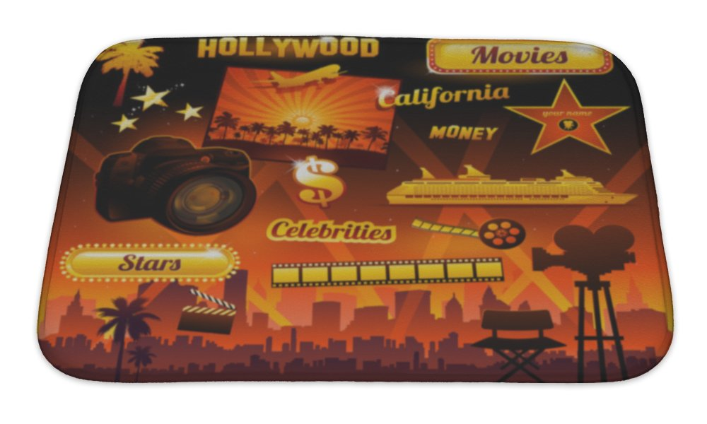 Gear New Bath Rug Mat No Slip Microfiber Memory Foam, Hollywood Cinema Movie Elements, 24x17