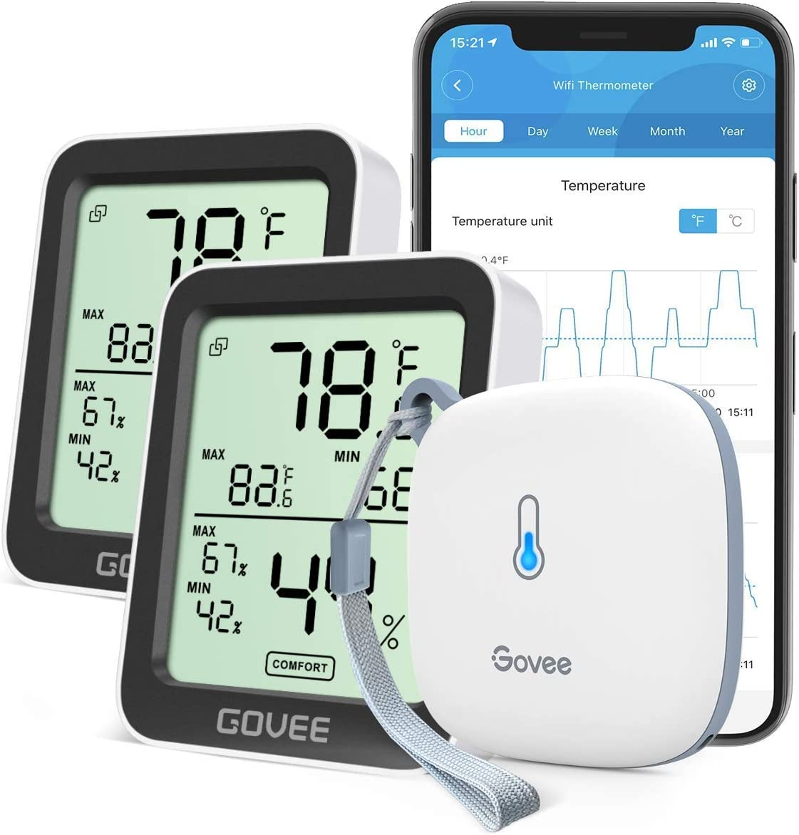 Govee Hygrometer Thermometer with Temp Humidity Monitor, Notification Alert, 2 Year Data Storage