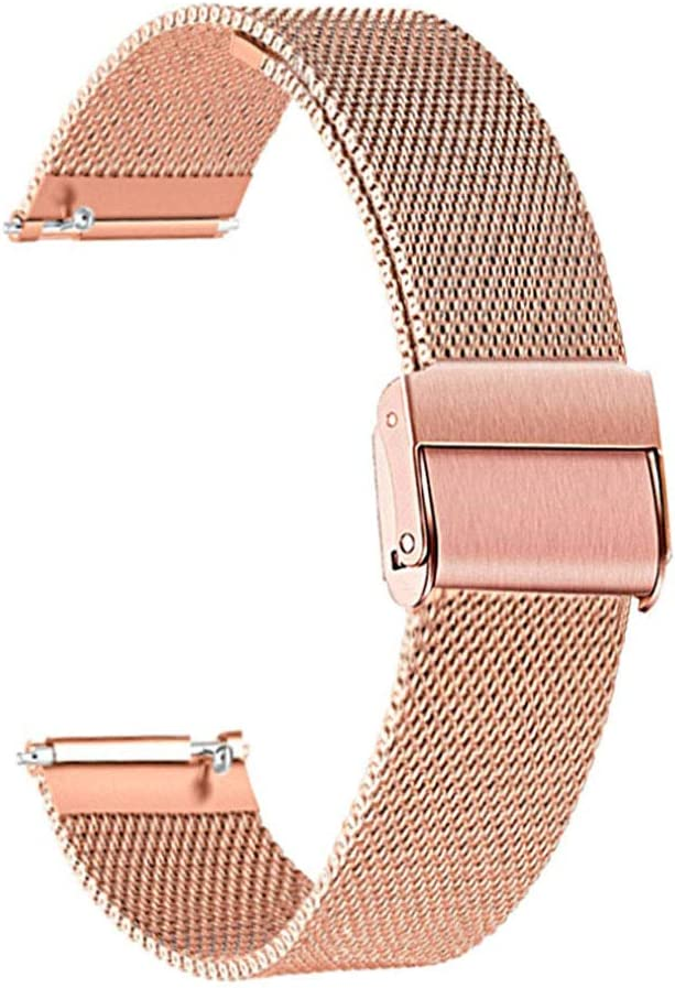for Fossil Women's Gen 4 Venture HR/Gen 3 Q Venture Bands, ViCRiOR 18mm Quick Release Mesh Woven Stainless Steel Replacement Bracelet Bands Strap Wrist Band for Fossil Women's Gen 4 Sport, Rose Gold