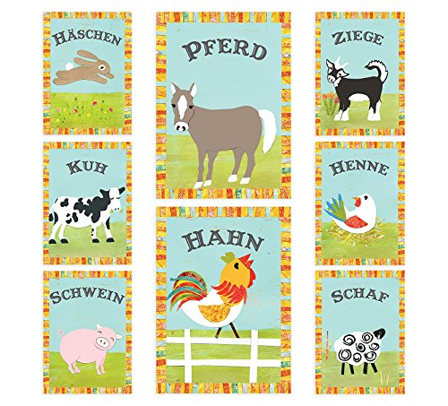 Farm Nursery Art in German - Vintage Farm Animals - Set of Eight 5x7 Inches Wall Cards, Nursery Decor, Playroom Decor, Nursery Wall Art, Bunny, Sheep, Pig, Rooster, Hen, Cow, Horse, Goat Animal Art Vintage Animal