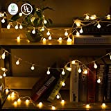 Globe String Lights, 33FT 100 Led Plug in Ball Christmas Lights, Waterproof Decorative Fairy Lights for Bedroom Indoor Outdoor Patio Garden Wedding Xmas Party(Warm White)