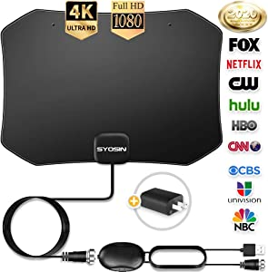 [ Latest 2020] Digital TV Antenna 150 Miles Amplifier Signal Booster Indoor Long Range HDTV Support 4K 1080P UHF VHF Local Free Channels with Coax Cable and USB Power Adapter