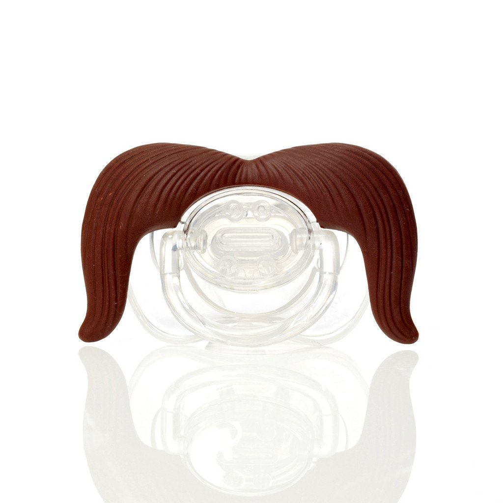 Hipsterkid Cowboy Mustachifier Brown BPA Free 0-6 Months Baby Orthodontic Mustache Pacifier