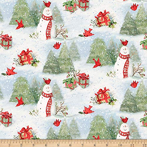 Springs Creative Products Susan Winget Christmas Snowy Cardinals Multi Fabric