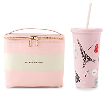 a6ef9a15d Kate Spade New York Lunch Tote - Blush Rugby Stripe & Tumbler With Straw -  Paris