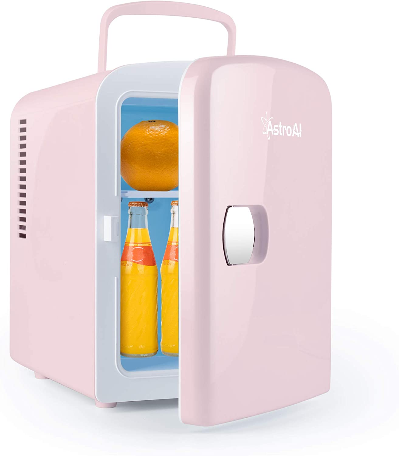 AstroAI Mini Fridge 4 Liter/6 Can AC/DC Portable Thermoelectric Cooler and Warmer for Skincare, Foods, Medications, Home and Travel (Pink) (Renewed)
