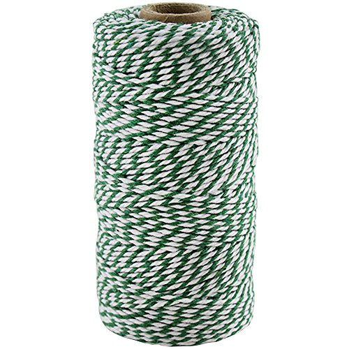 Just Artifacts ECO Bakers Twine 110yd 12Ply Striped Kelly Green - Decorative Bakers Twine for DIY Crafts and Gift Wrapping
