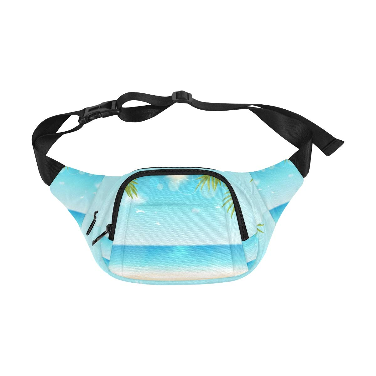 Summer Beach Birds-eye View Paper Style Fenny Packs Waist Bags Adjustable Belt Waterproof Nylon Travel Running Sport Vacation Party For Men Women Boys Girls Kids
