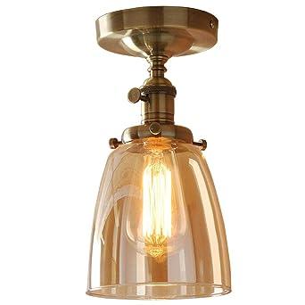 Nostalgie Designer Deckenlampe Kupferfarbigen Rund Glas Lampenschirme  Deckenleuchte Beleuchtung 1 Flammig Kronleuchter Esszimmerlampe Für Küche  Flur