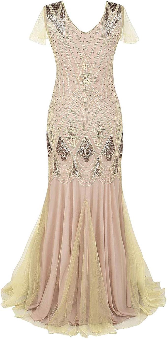 IMEKIS Damen 8er Jahre Pailletten Perlen Kleid Flapper Gatsby  Meerjungfrau Abendkleid Vintage Cocktailkleid Ärmellos V-Ausschnitt Lang  Maxikleid