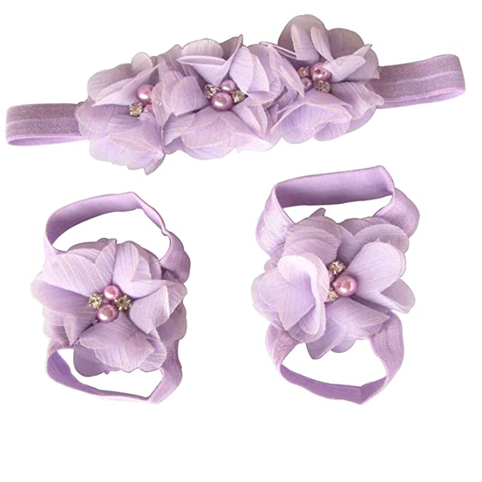 a42527a6a3380f EtsiBitsi Girl s Foot Flower Barefoot Sandals + Headband Accessories Baby  Pink  Amazon.in  Clothing   Accessories