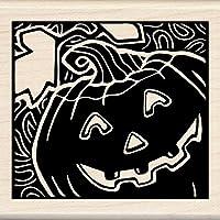 Inkadinkado Halloween Mounted Rubber Stamp, 3 by 3-Inch, Woodcut Jack O'Lantern