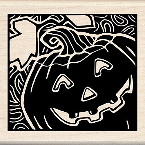Inkadinkado Halloween Mounted Rubber Stamp, 3 by 3-Inch, Woodcut Jack O'Lantern