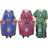 Mogul Interior 3 Womens Kaftan Kimono Maxi Dress Summer Caftan Evening Bohemian Beach Cover up