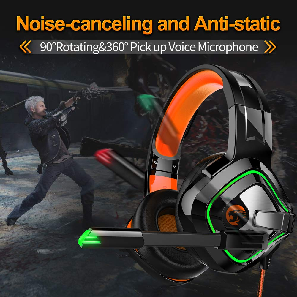 STOGA Professional Gaming Headset with 50MM Comfy Earmuffs, Over Ear Headphones with Noise Canceling Microphone LED Light, Compatible with PS4, Xbox One, Switch, PC, PS3, Mac, Laptop