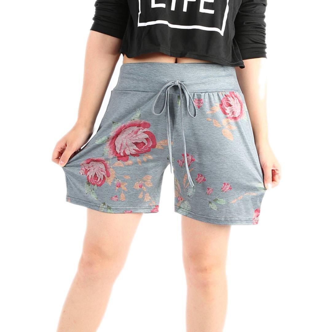kingfansion Shorts for Womens Womens Summer Casual Floral Print Drawstring Shorts Sports Yoga Shorts