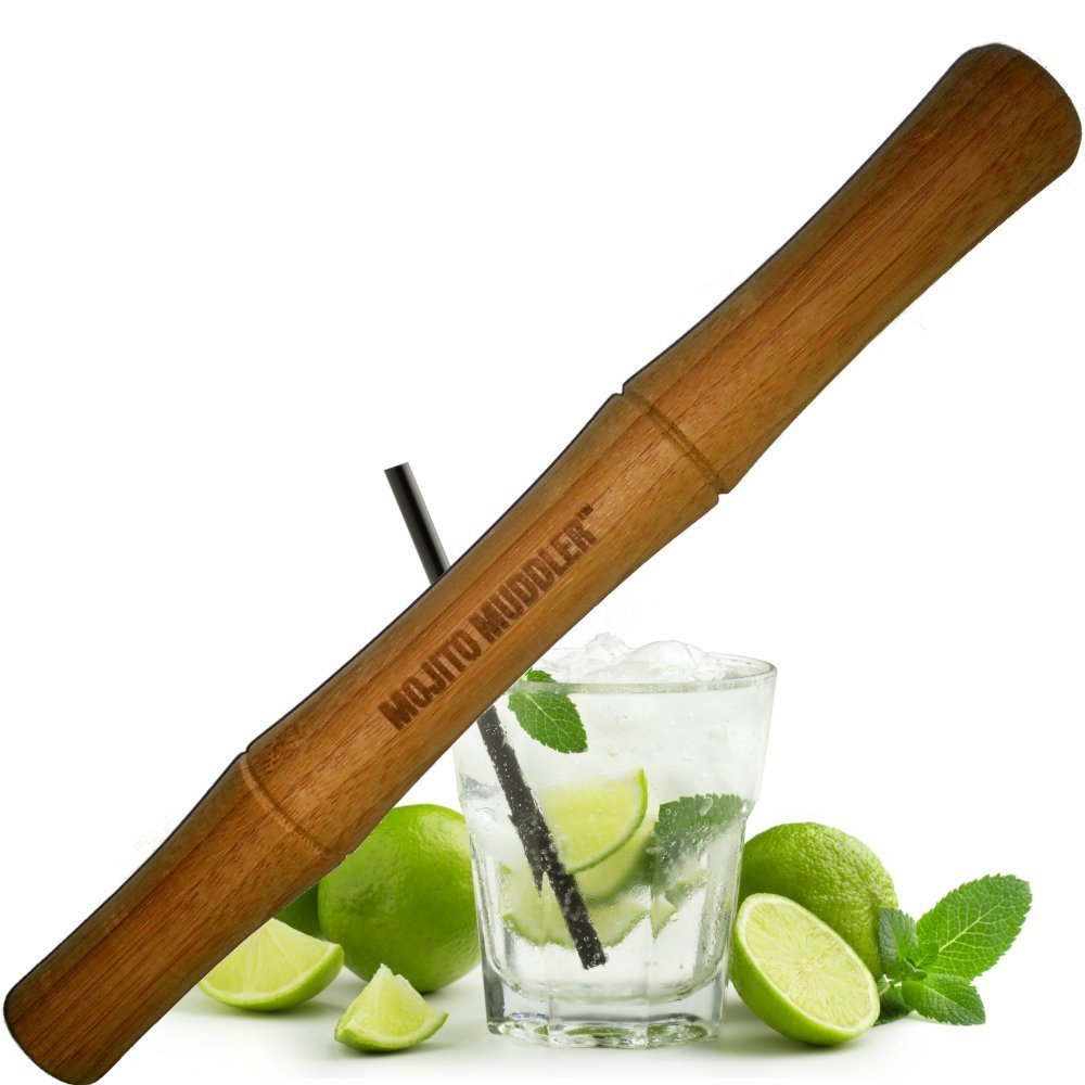 Mojito Muddler 11 Inch Professional Grade Bamboo - Won't Shred or Taint Like Steel, Plastic or Cheap Wooden Muddlers (Bartenders Love It!) by Mojito Muddler