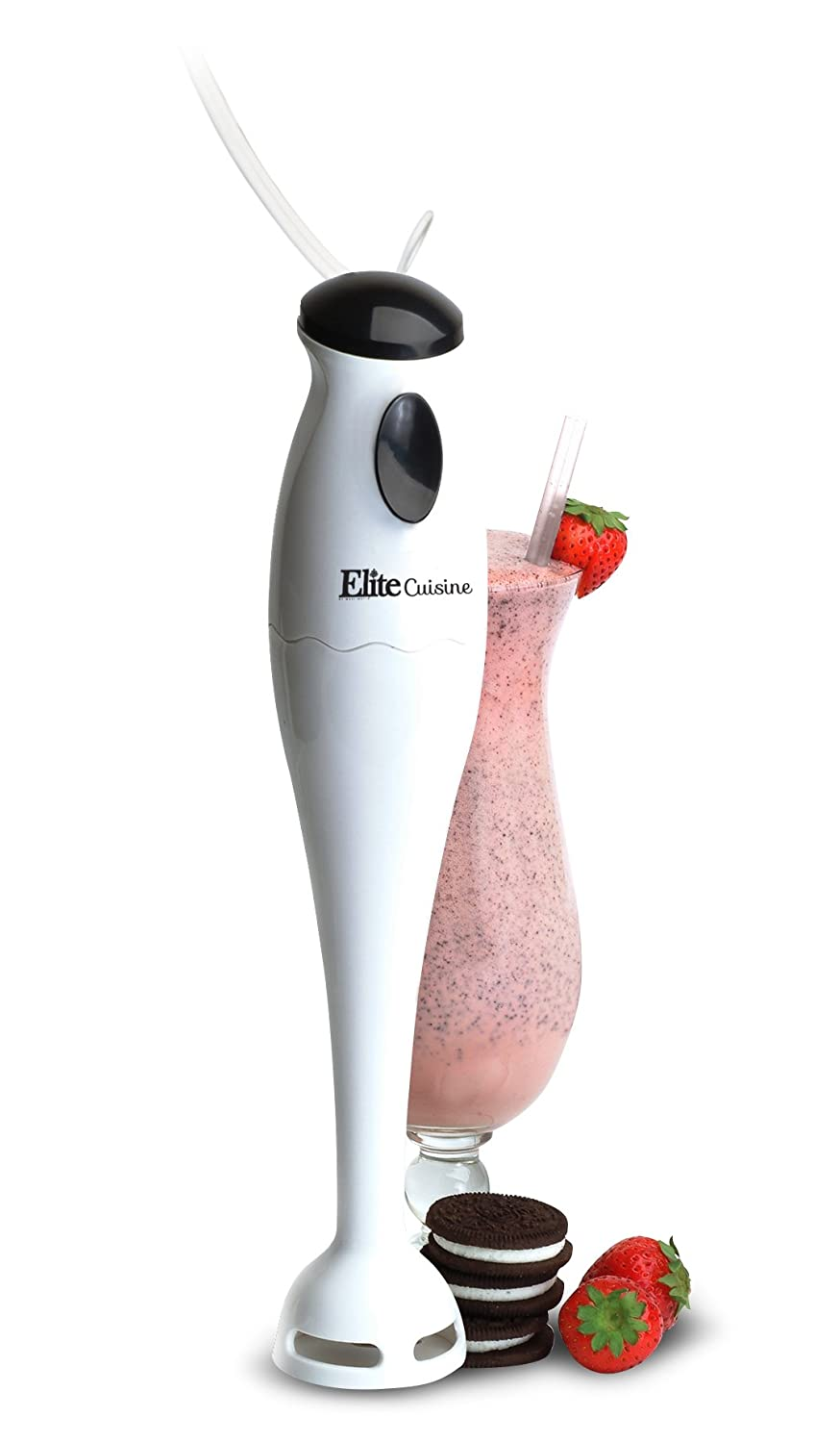 Elite Cuisine EHB-1000X Electric Immersion Hand Blender, Mixer, Chopper, 1-Touch Soups, Sauces, Baby Food, Compact Storage, Easy Clean, 150 Watts, White