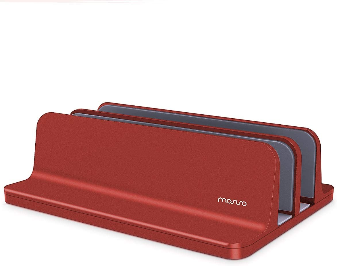 MOSISO Laptop Stand Holder, Vertical Aluminum Alloy Desk Holder Portable Dual Slot Adjustable Dock Stable Stander Compatible with iPad Pro/MacBook Air/MacBook Pro/Surface Pro Notebook, Red
