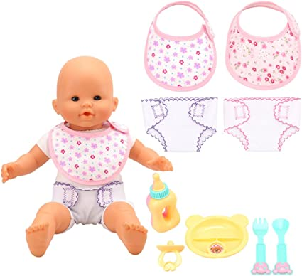 Baby Doll Accessories 4pc Feeding Set 2pc Diapers 2pc Bibs for 14-18 Inch doll