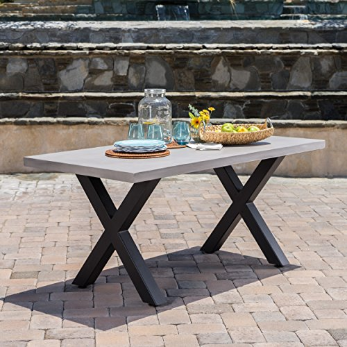 Christopher Knight Home Galatian Outdoor White Light Weight Concrete Dining Table w/Black Iron Legs