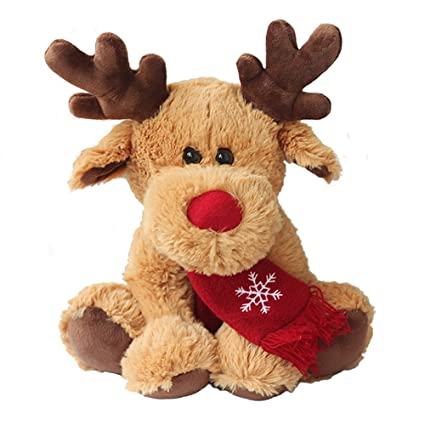 bfe63f85391e9 Minibaby Rudolph Red Nose Reindeer Stuffed Plush Caribou Deer Cute for  Babies Kids