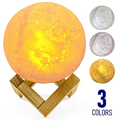 "Moon Lamp, 3D Printing with 3 Lunar Colors, 4.9"" - Realistic Moon Light with Wood Stand, Touch Control, Perfect for Home Decor, Bedroom, Kids Birthday Gift (4.9 inch/13 cm): Home Improvement"