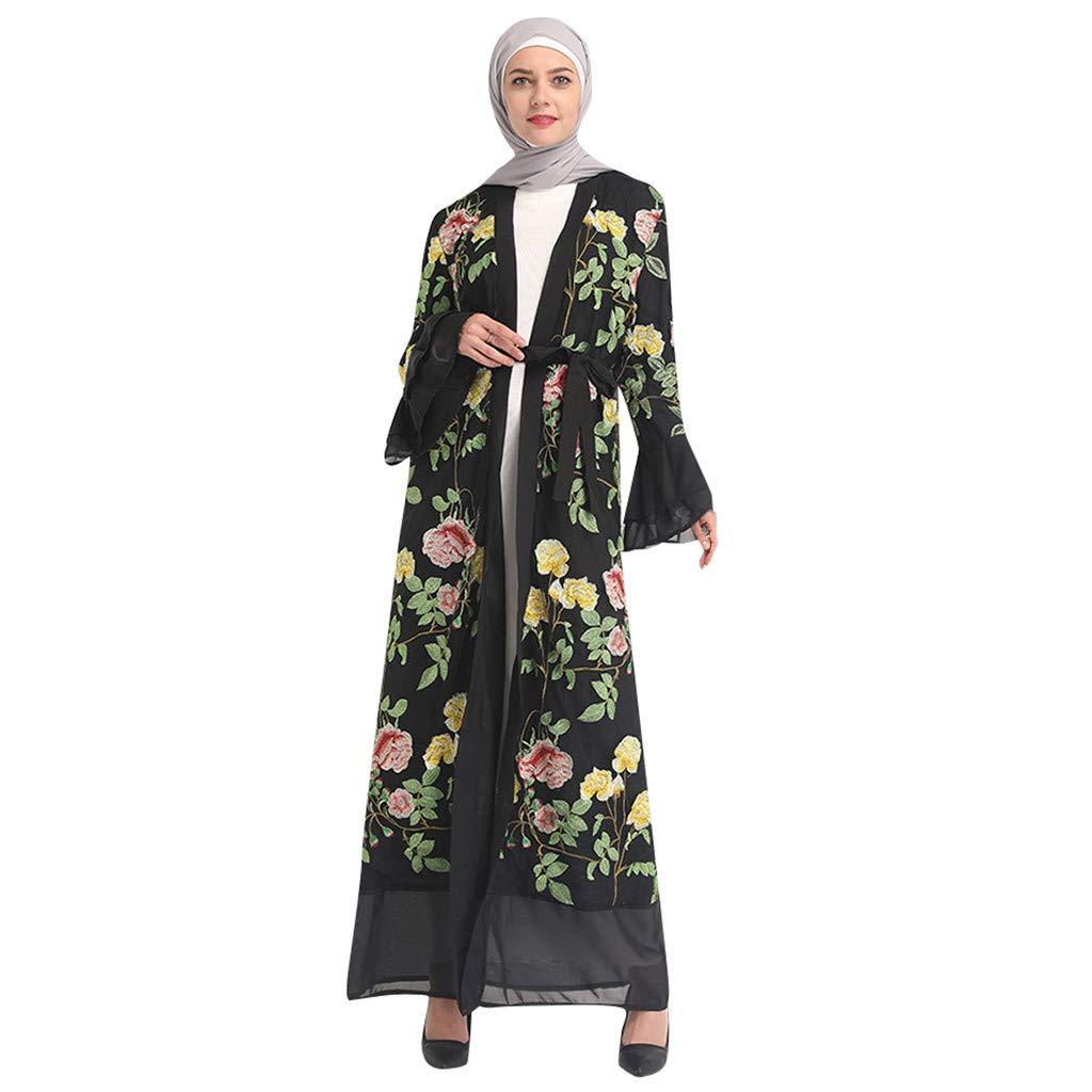 Yellow Bravetoshop Women Floral Printed Bell Sleeve Lace Long Dress Robe Open Abaya Cardigan Muslim Dubai Gown