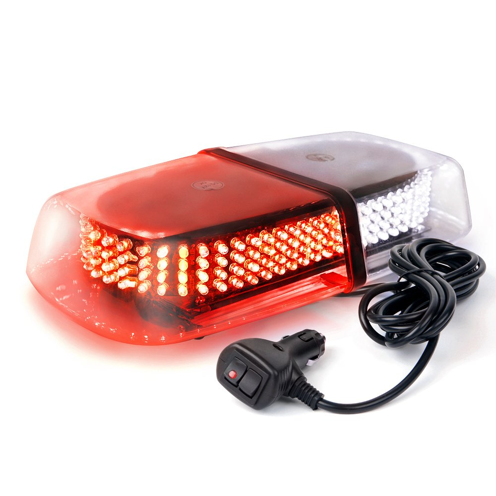 Xprite White /& Red 240 LED Law Enforcement Emergency Hazard Warning LED Mini Bar Strobe Light with Magnetic Base
