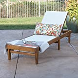 Great Deal Furniture Della Outdoor White Mesh Chaise Lounge with Teak Finished Acacia Wood Frame