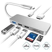 Hub USB C, Adaptador HDMI 4K concentrador Tipo C con 3 Puertos USB Lector de Tarjetas SD/TF, Puerto de Suministro de energía para MacBook, ChromeBook y Otros Portátiles USB-C,Adaptador Multipuerto