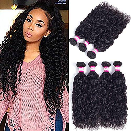 Pretty Coco 8A Brazilian Human Hair 4 Bundles Brazilian Water Wave Bundles 16 18 20 22 Water Wave Hair Unprocessed Virgin Hair Bundles Can be Dyed