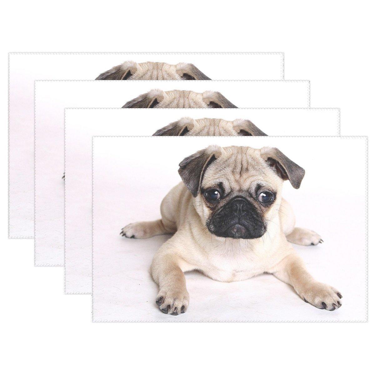 vnaskl動物犬パグふわふわSmall Puppyかわいいペットキュート耐熱テーブルPlacemats Set of 4 Stain Resistantテーブルマット洗濯可能食べマットホームディナー装飾   B07D8J3VMC