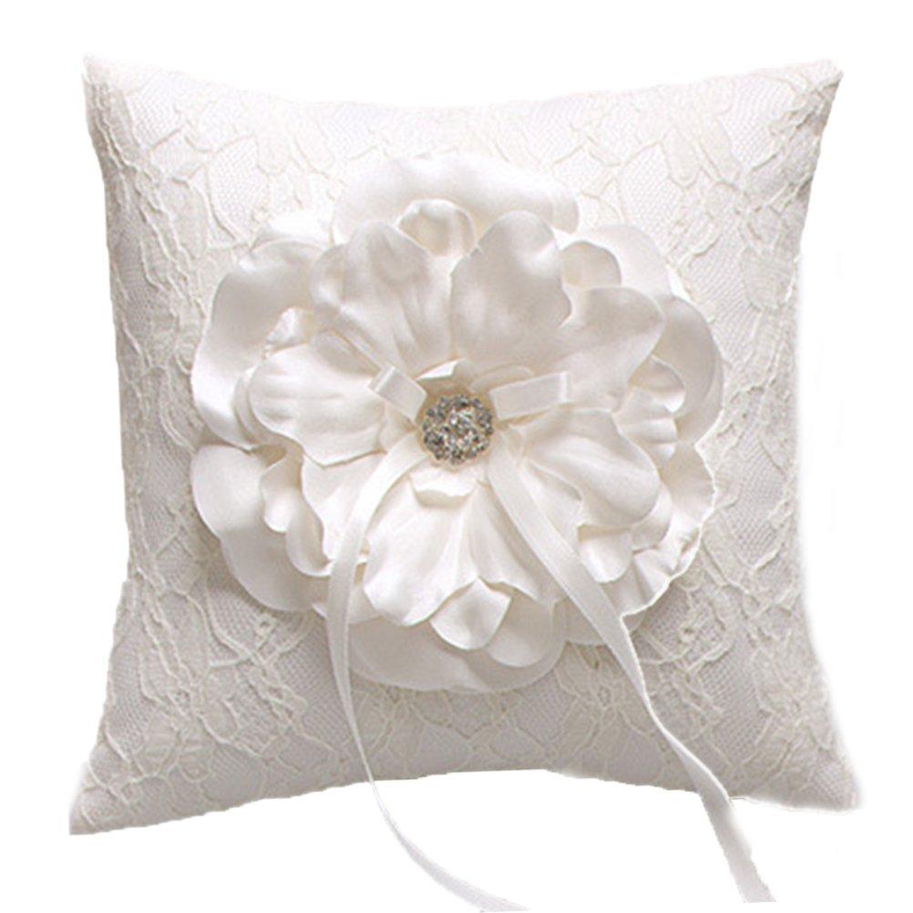 Vivivalue Rhinestone Large Satin Ring Pillow Ring Bearer Pillow Cushion Embroidered Wedding Bridal Ivory White