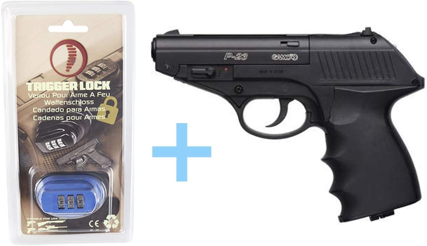 Gamo Pack Pistola Aire Comprimido (CO2) P-23 Combat/Full Metal, Pistola de Bolas, Potencia 3 Julios, Calibre 4.5 mm + Candado de Seguridad Yatek + Balines de Bolas (250 Uds) + Bombona de CO2 (12 g).