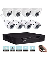 Tonton 8CH Full HD 1080P Security Camera System, 5-in-1 Video Recorder with 4PCS Outdoor Indoor Bullet Cameras and 4PCS Dome Cameras, Face Recognition and Clear Night Vision, NO HDD
