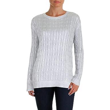 c32706bc8484 LAUREN RALPH LAUREN Womens Kati Metallic Cable Knit Crewneck Sweater ...