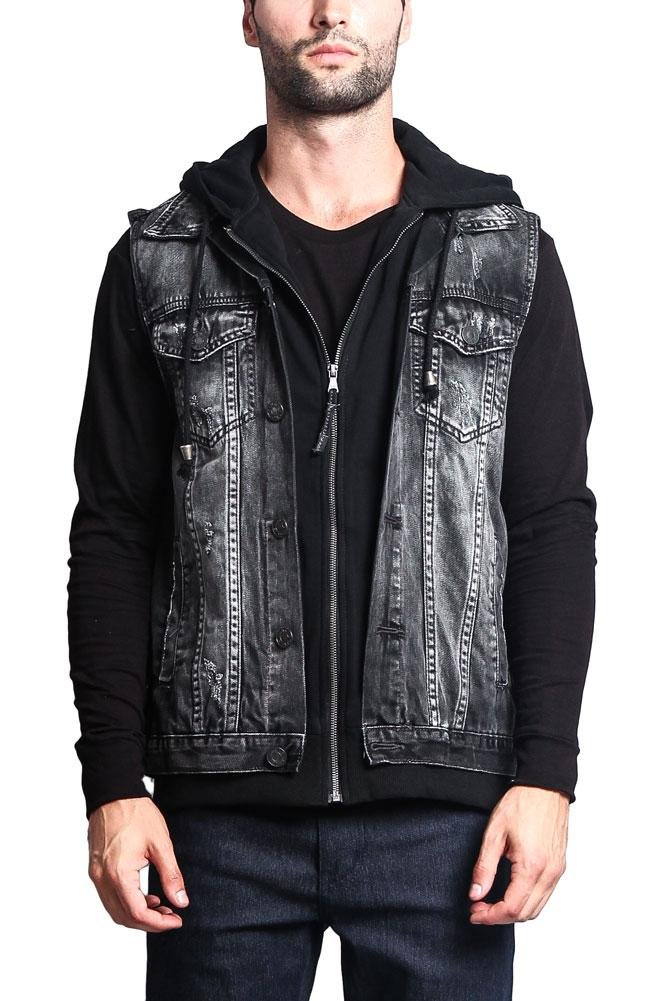 Victorious G-Style USA Layered Hooded Denim Vest DK110 - Layered Black - Large - GG1G