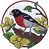 BeyondVision Nature weaved in threads, Amazing Birds Kingdom [Rose Breasted Grosbeak And Woody Poppy [Custom and Unique] Embroidered Iron on/Sew patch [5.83'5.86'] [Made in USA]