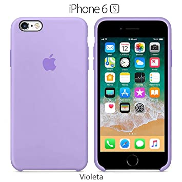 Funda Silicona para iPhone 6 y 6s Silicone Case, Textura Suave, Forro Microfibra (Violeta)