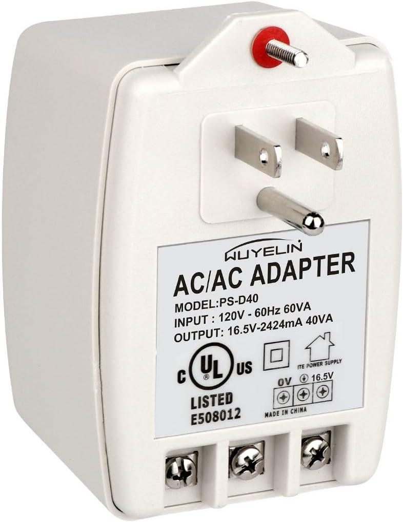 16.5V 40VA Burglar Alarm Systems and Doorbell Transformer,16.5V plug in transformer Compatible with All Versions of Doorbell ,Most Security Panels Including Honeywell Ademco, DSC, ETC
