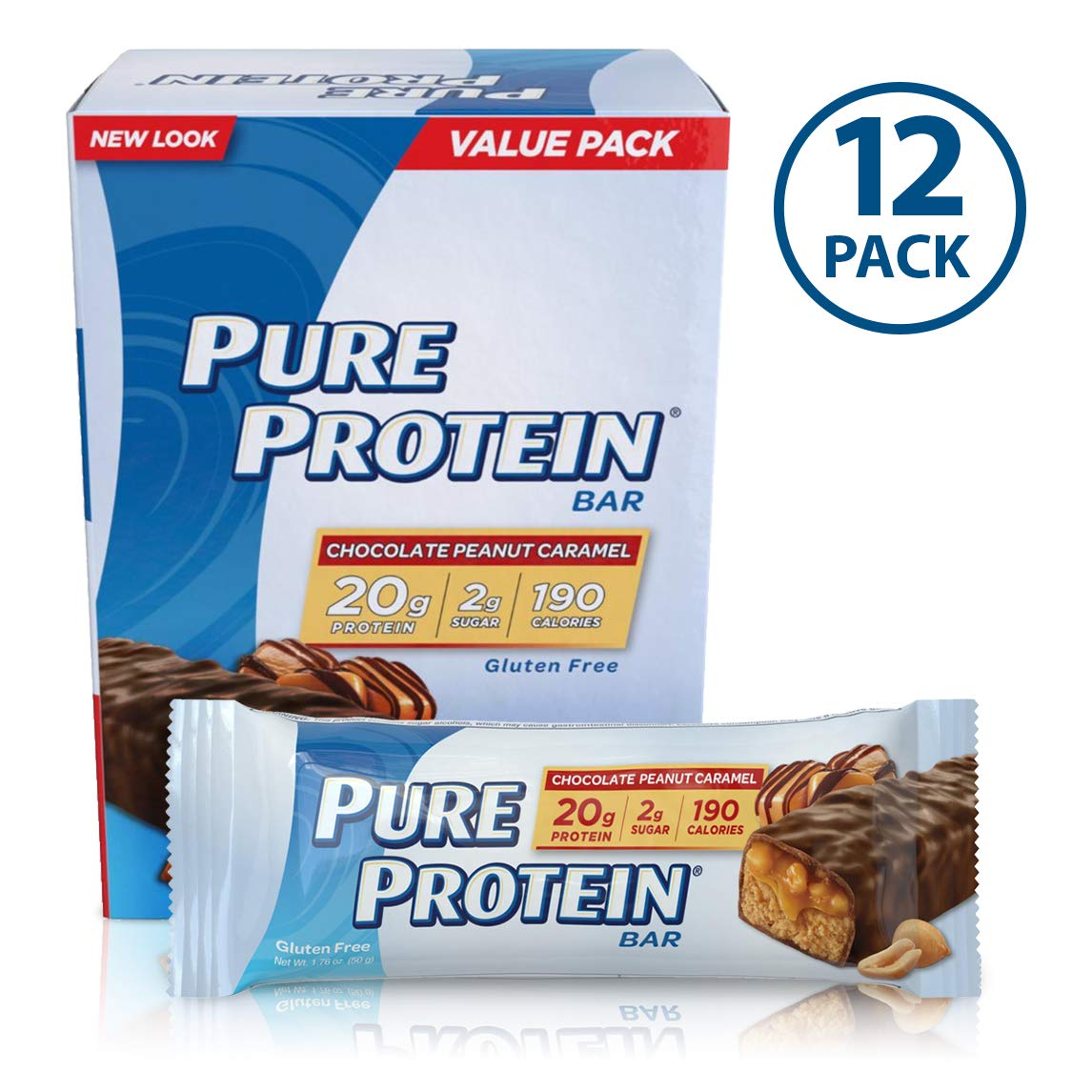 Pure Protein Bars, High Protein, Nutritious Snacks to Support Energy, Low Sugar, Gluten Free, Chocolate Peanut Caramel, 1.76oz, 12 Pack by Pure Protein