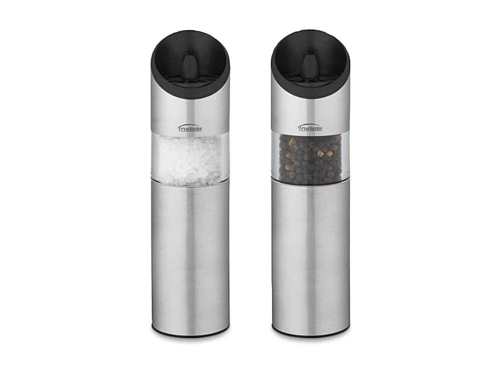 Trudeau Graviti Battery Operated Salt & Pepper Mill Set (Silver) by Trudeau