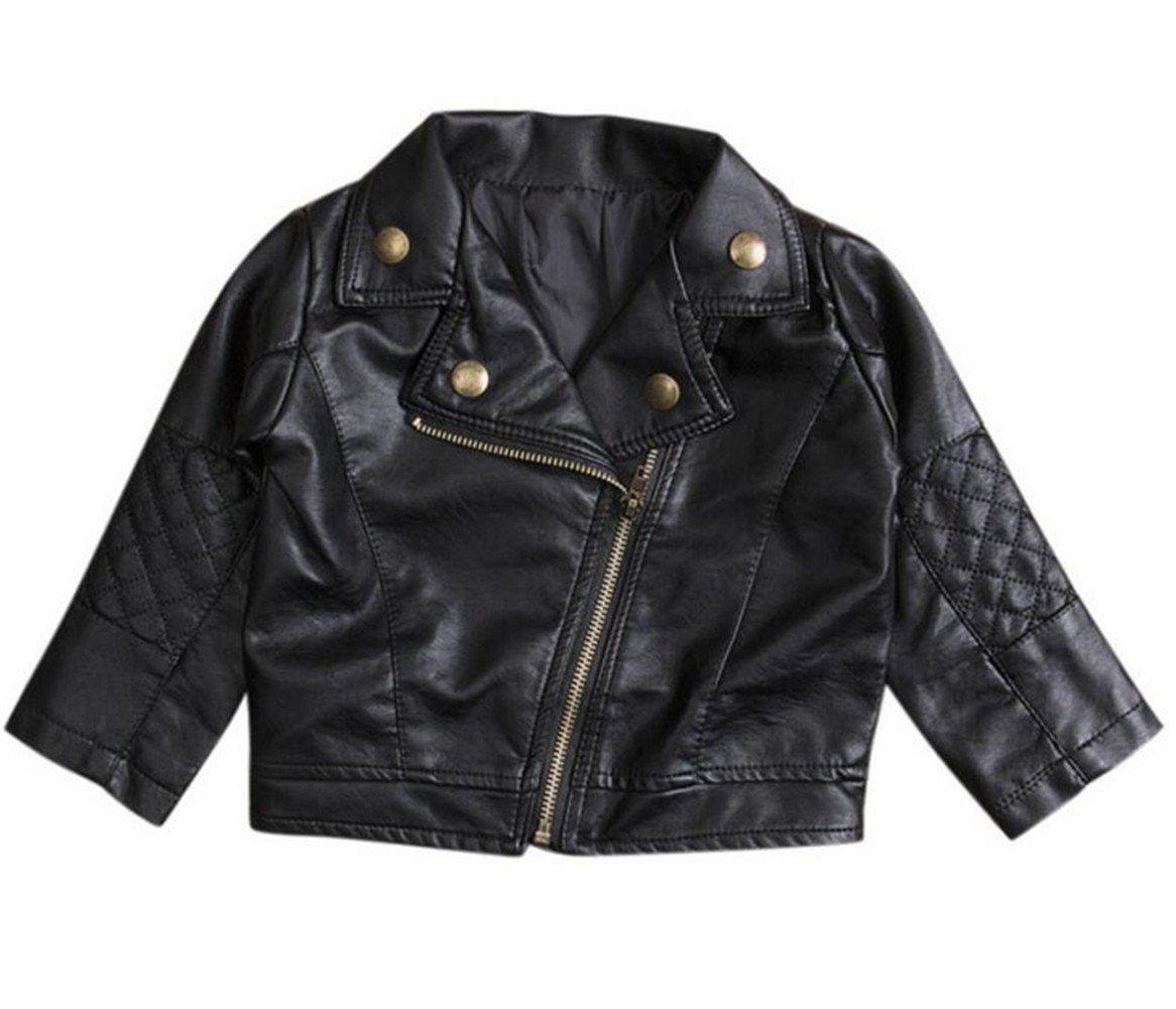 UNIQUEONE Baby Boys Girls Kids Outfits Spring Autumn PU Faux Leather Lapel Jacket Oblique Zipper Outerwear Coat Size 6-12 Months/Tag5 (Black)
